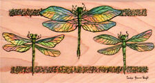 NEW XL CAROL S WRIGHT RUBBER STAMPS HAPPEN DRAGONFLIES FREE US SHIP