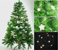 3 x Gold Wooden Star Wire Garland Wreath Christmas Xmas Tree Hanging Decoration