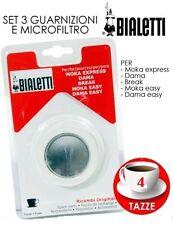 BIALETTI MOKA RICAMBIO ORIGINALE CAFFETTIERA 3 GUARNIZIONI 1 FILTRINO X 4 TAZZA