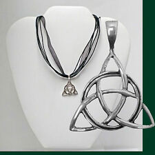 TRIQUETRA Sterling Silver Pendant Solid 925 Irish Celtic Trinity Knot Charmed