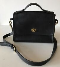 Vintage Coach Court Bag Cross Body/Messenger Black Leather #9870