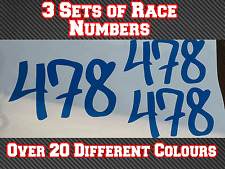 "3 Sets 4"" Race Number Vinyl Stickers Decals MX MotocrossTrack Bike Kart N8 100mm"