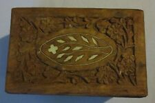 Vintage Hand Carved Wood Box Inlay Shell Flowers Jewelry Trinket