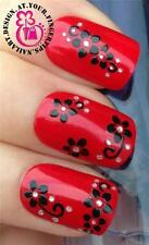 3D SELF ADHESIVE NAIL ART STICKER DECALS TRANSFER BLACK FLOWERS GEMS STYLE #531