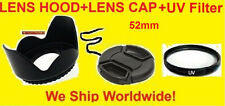PRO HARD LENS HOOD, UV FILTER, LENS CAP 52 mm 52mm