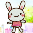FD1312 Happy Pink Rabbit Embroidery Cloth Iron On Patch Sew Motif Applique ~1PC~