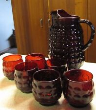 Vintage Set Ruby Red Bubble Tumblers Roly Poly + 64 oz Pitcher Anchor Hocking