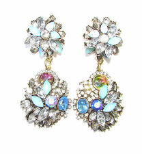 Art Deco Nouveau Blue Mint Green Silver Faux Opal Earrings Diamante 1920s 1128
