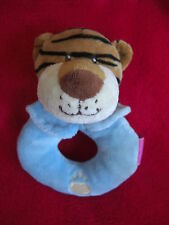 SOFT TOY RAVENSDEN BABY TIGER BLUE RATTLE TIGGER HAND RING GINGER CAT NEXT ZOO T