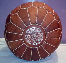 MOROCCAN GENUINE LEATHER POUF, LIGHT TAN  POUF,HASSOCK,OTTOMAN,FOOTSTOOL