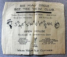 RARE 1928 POSTER Big May Circus BEE TEE YEW CLUB Fall River Massachusetts MASS