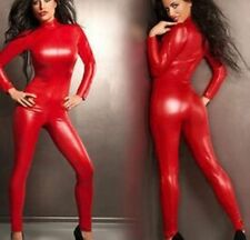 Red Metallic Catsuit Fetish Bodysuit Jumpsuit Rompers Costume Clubwear Dance