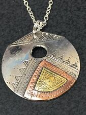 "African Free Trade Trio Metal Tuareg Silver w/ 18"" Silver Necklace G20"