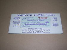 TRAVELLERS CHEQUE ADVERTISING BLOTTER. 1945. ANGLO CALIFORNIA NATIONAL BANK