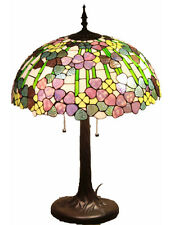 """Tiffany Style Stained Glass Lamp """"Biltmore"""" w/ 20"""" Shade & Poinsettia Card"""