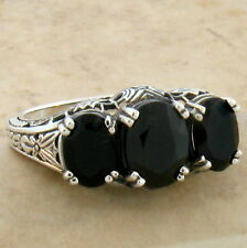 GENUINE BLACK AGATE 3 STONE ANTIQUE DESIGN 925 STERLING SILVER RING SIZE 10,#763