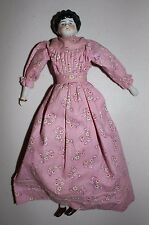 "Antique 1870s Hertwig China Head Doll Low Brow Center Part Dress  12"" Germany"