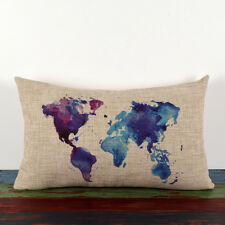 30*50cm vintage linen watercolor blue purple world map Africa Asia cushion cover