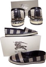 BURBERRY Hodgeson Woven Raffia Espadrille Stripe Flat Ballet Moccasins Flat 39.5