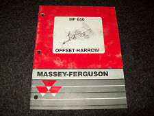 MASSEY FERGUSON 650 OFFSET DISC HARROW OPERATORS MANUAL  & ASSBLY INSTRU