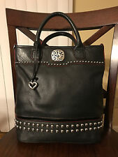BRIGHTON Rockwell Studded Leather Tote Purse Handbag, Black, EUC!!