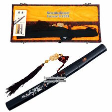 Handmade Shirasaya Tanto Samurai Short Sword Dragon Black Scab with Jade Tassel