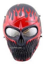 Skull skeleton On Fire Airsoft Paintball Full Face PC Len Protection Mask BB Gun