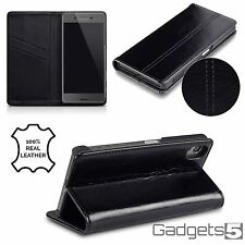 Real Genuine Hand Crafted Leather Wallet Original Case Sony Xperia X Black
