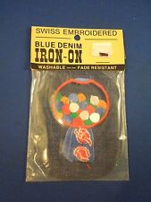 Vintage Blue Denim Blue Gumball Candy Machine Iron On Patch Sealed