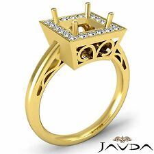 Halo Semi Mount 0.36Ct Diamond Engagement Princess Filigree Ring 18k Yellow Gold