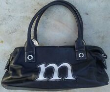 BLACK LEATHER PURSE with Letter M Initial - GIANI BERNINI - Shoulder Bag