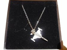 "Northrop F-5E Tiger II c91 Aircraft On a 18"" Silver Plated Curb Chain Necklace"