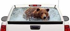 """bear grizzly water rear window graphics perforated Decal Sticker 66""""x22"""" Truck"""