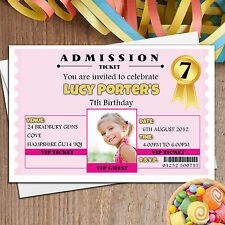 10 Personalised Girls VIP Ticket Birthday Party PHOTO Invitations  N101 ANY AGE