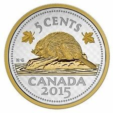 2015 Five Ounce Silver Big Coin Series - Gold Plated Beaver - 5 Cents