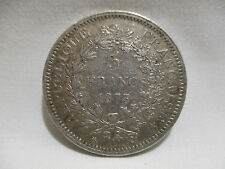ANCIENNE PIECE 5 FRANCS HERCULE ARGENT 1873 A OLD COIN SILVER