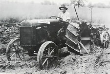 """12 By 18"""" Black & White Picture 1920's Fordson Tractor plowing"""
