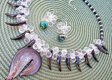 JEWELRY SET:NECKLACE/PENDANT/EARRINGS: VARIED SHAPES/SIZES/COLORS OF GLASS BEADS