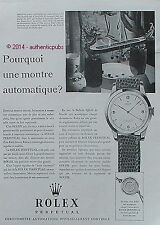PUBLICITE ROLEX PERPETUAL MONTRE CHRONOMETRE DE 1951 FRENCH AD ADVERT PUB RARE