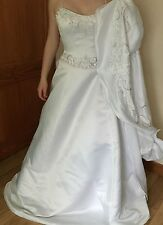 ALFRED ANGELO WEDDING DRESS GOWN BODICE & SKIRT SIZE 10 WHITE EMBELLISHED TRAIN