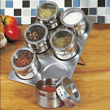 6 PC MAGNETICO Herb SPICE RACK tin jar con HOLDER STAND IN ACCIAIO INOX MAGNETE