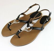 New Authentic GUCCI Leather Thong Sandals w/Metal Horsebit, 35/5, 311801