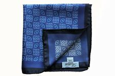 Battisti Pocket Square Blue with navy border & blue/white pattern, pure silk