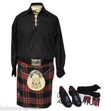 10 Pcs Kilt Outfit, Jacobite Shirt, Kilts, Kilt Belt, Kilt Pin, Sporran, Ghillie