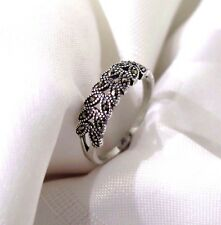 925 STERLING SILVER MARCASITE FERN ROWS  RING SIZE 10