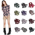Lady Campus Style Plaid Shirt Top Blouse Casual Flannel Button Down Shirt M-2XL