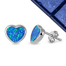 TOP VALENTINE'S ITEM! Blue Australian Opal Heart .925 Sterling Silver Earrings