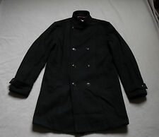 PLECTRUM BEN SHERMAN MENS BLACK DOUBLE BREASTED WOOL TRENCHCOAT SIZE MEDIUM NEW