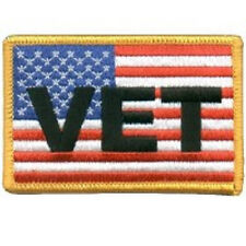 US FLAG WITH VETERAN SERVICE MILITARY EMBROIDERED BIKER PATCH