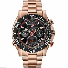 NEW BULOVA PRECISIONIST CHRONOGRAPH ROSE GOLD-TONE MEN'S WATCH 98B213